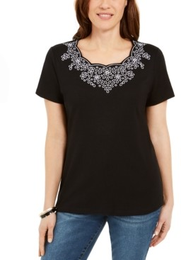 Karen Scott Scalloped Studded Top, Created for Macy's