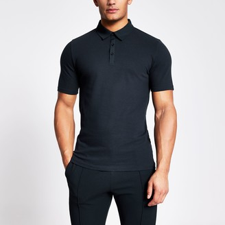 River Island Mens Navy muscle fit contrast collar polo shirt