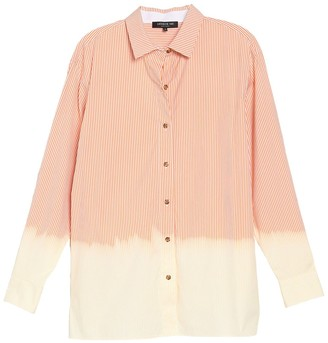 Lafayette 148 New York Everson Striped Dip Dye Blouse