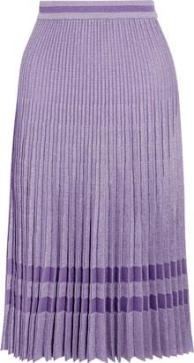 Baum und Pferdgarten Cyrilla Pleated Metallic Cotton-blend Jacquard Skirt