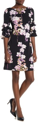 Gabby Skye 3/4 Ruffle Tiered Sleeve Floral Print Dress