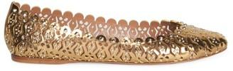 Alaia Studded Laser Cut Metallic Leather Ballet Flats