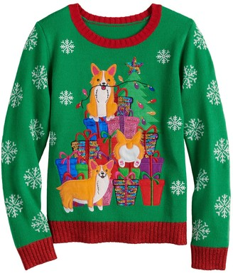 It's Our Time Girls 7-16 Corgi Christmas Sweater