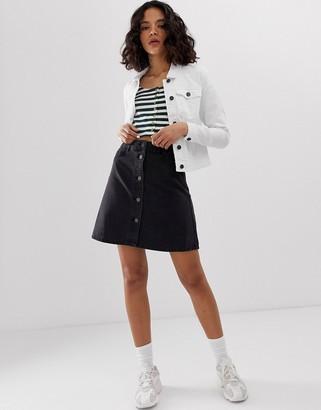 Noisy May button front denim skirt-Black