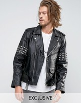 Reclaimed Vintage Leather Jacket With Studding