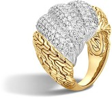 John Hardy Classic Chain 18K Gold Diamond Pavé Dome Ring