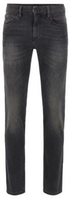 HUGO BOSS Skinny Fit Jeans In Black Knitted Stretch Denim - Black