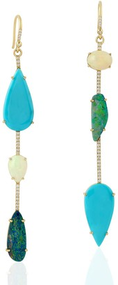 Artisan 18Kt Yellow Gold Opal Doublet Turquoise Dangle Earring Handmade Jewelry