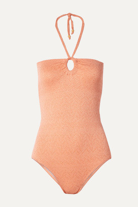 Peony - Net Sustain Metallic Cutout Halterneck Swimsuit - Antique rose
