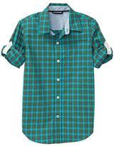 Gap Convertible checkered plaid shirt