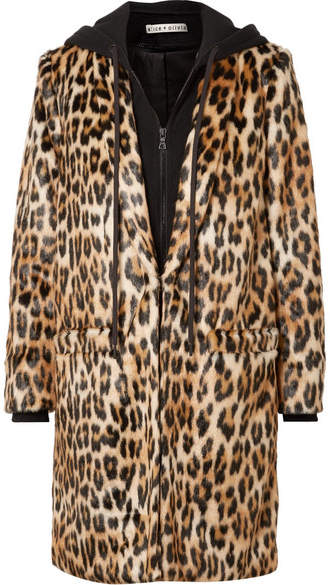 Alice + Olivia Alice Olivia - Kylie Leopard-print Faux Fur And Cotton-jersey Coat - Leopard print