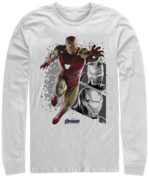 Marvel Men's Avengers Endgame Iron Man Jump Action Pose Panels, Long Sleeve T-shirt