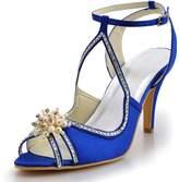 ElegantPark EP11058 Women Sandals Peep Toe Pearls Cross Strap High Heel Satin Wedding Bridal Shoes Blue US 10