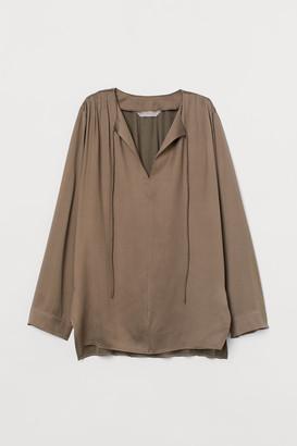 H&M Silk-blend Blouse - Beige