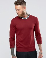 Ps By Paul Smith Paul Smith Jumper With Contrast Trim Crew Neck In Burgundy