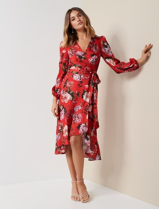 Forever New Serena Wrap Satin Midi Dress - Fiesta Floral - 10