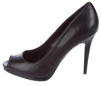 8af261b2074 Peep-Toe Leather Pumps