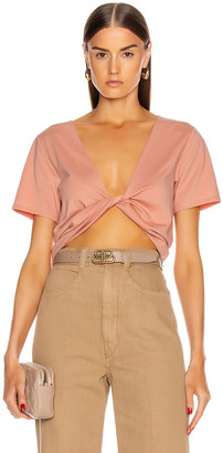 GRLFRND Sabine Twist Front Tee Shirt in Blush | FWRD