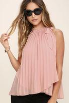 LuLu*s Style Starter Blush Pink Pleated Sleeveless Top