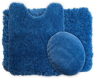 Lavish Home 3 Piece Super Plush Non-Slip Bath Mat Rug Set, Navy