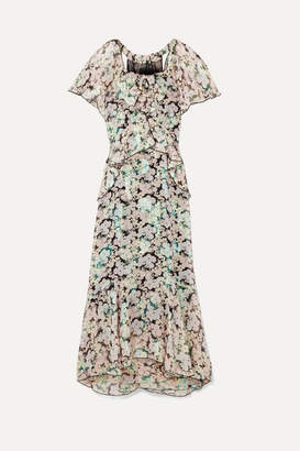 Anna Sui Night Bloom Printed Fil Coupe Silk-blend Chiffon Midi Dress - Green