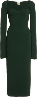 KHAITE Beth Sweetheart Ribbed Jersey Dress