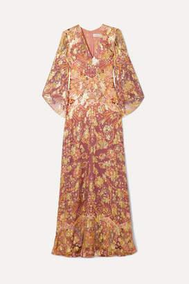 Etro Printed Fil Coupé Silk-blend Georgette Maxi Dress - Plum