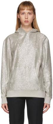 Saint Laurent Silver Shiny Hoodie