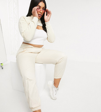 Puma Plus High Waisted Utility Pants in cream exclusive to asos