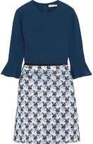 Mary Katrantzou Ligretto Crepe And Jacquard Mini Dress - Midnight blue