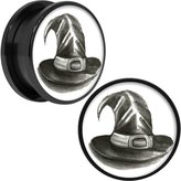 Body Candy Anodized Stainless Steel Halloween Magic Witch Hat Screw Fit Plug Pair 20mm