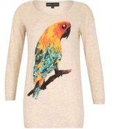 Dorothy Perkins Womens *Mela Beige Parrot Print Jumper- Beige