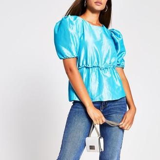 River Island Blue short sleeved taffeta peplum top