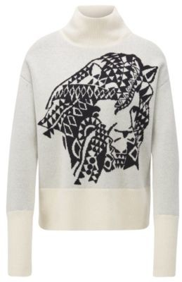 HUGO BOSS Relaxed Fit Sweater In Cashmere With Jacquard Pattern - Patterned