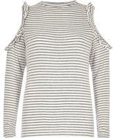 River Island Womens White stripe frill cold shoulder top
