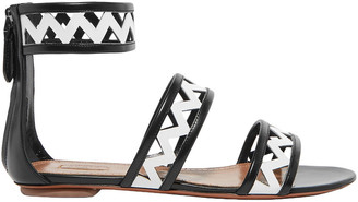 Alaia Two-tone Laser-cut Leather Sandals