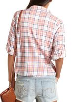 Charlotte Russe Tie-Front Stud Pocket Plaid Top