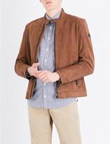 BOSS ORANGE Stand-collar leather jacket