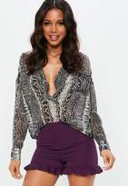 Missguided Purple Ruffle Hem Shorts