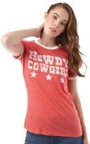 Brave Soul Womens Cow Girl T-Shirt Retro Red Marl/Cream