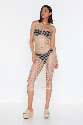 Nasty Gal Womens You're a Catch One Shoulder Fishnet Dress - Sand