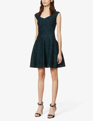 Metallic stretch-knit mini dress
