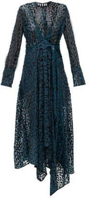 Petar Petrov Aida Wrap-effect Fil-coupe Dress - Womens - Blue Multi