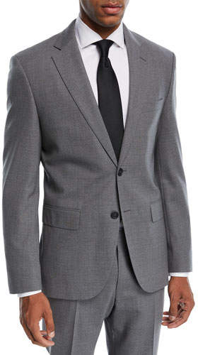 BOSS Jets Lenon Solid Wool Two-Piece Travel Suit, Medium Gray