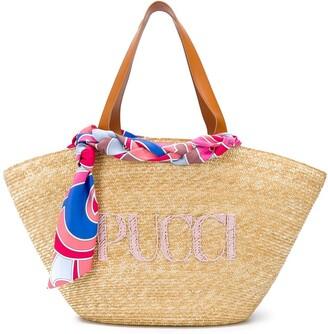 Emilio Pucci Logo-Embroidered Straw Tote Bag