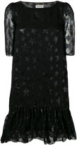 Saint Laurent star pattern midi dress - women - Silk/Polyamide - 38