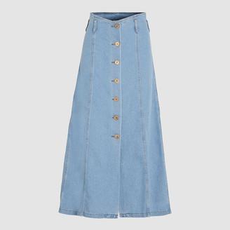 Nanushka LIGHT DENIM Roja A-Line High Waisted Denim Skirt M