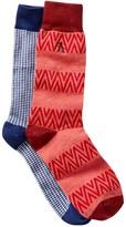 Original Penguin Gingham & Chevron Stripe Crew Socks - Pack of 2