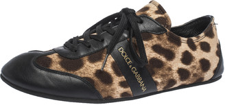 Dolce & Gabbana Brown Leopard Print Canvas And Black Leather Lace Up Sneakers Size 38