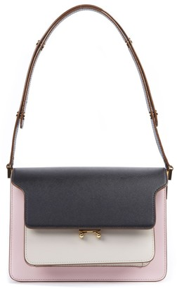 Marni Black And Pink Trunk Leather Shoulder Bag
